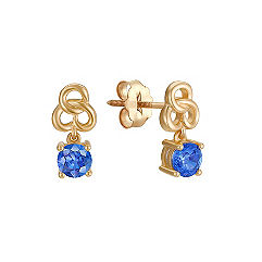 Round Kentucky Blue Sapphire Earrings
