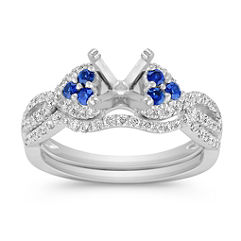 Round Sapphire and Diamond Wedding Set with Pavé Setting
