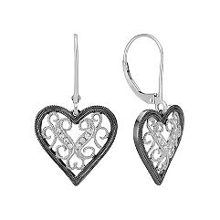 Round Diamond Heart Leverback Earrings