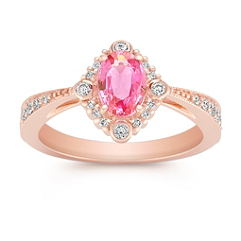 Oval Pink Sapphire and Round Diamond Ring in 14k Rose Gold