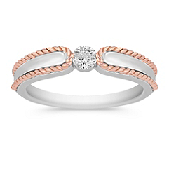 Diamond Ring in Sterling Silver and 14k Rose Gold with Channel Setting