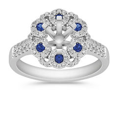 Vintage Sapphire and Diamond Engagement Ring with Pave Setting