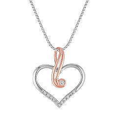 Diamond Heart Pendant in 14k White and Rose Gold (18 in.)