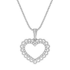 Round Diamond Vintage Heart Pendant (18 in.)