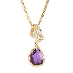 Freeform Lavender Sapphire and Round Diamond Pendant (22 in.)