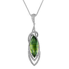 Marquise Green Sapphire and Round Diamond Pendant (18)
