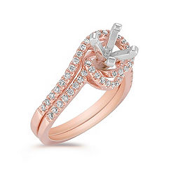 Pavé Set Diamond Swirl Wedding Set in 14k Rose Gold