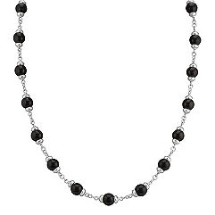 Sterling Silver and Black Agate Necklace (30)