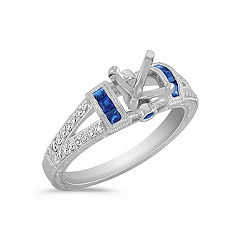 Vintage Princess Cut, Round Sapphire and Round Diamond Engagement Ring in Platinum