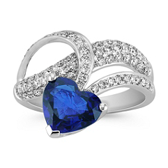 Heart Shaped Sapphire and Round Diamond Ring