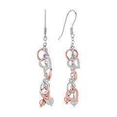 Sterling Silver & Rose Dangle Heart Earrings