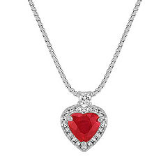 Heart-Shaped Ruby and Round Diamond Heart Pendant (18 in.)