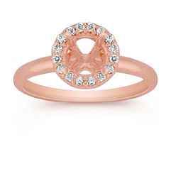 Halo Diamond Engagement Ring in Rose Gold