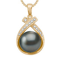 9mm Cultured Tahitian Pearl and Round Diamond Pendant (18 in.)
