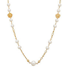 6.5-10mm Cultured Freshwater Pearl and Yellow Sterling Silver Necklace (30 in.)
