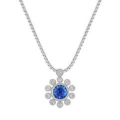 Round Kentucky Blue Sapphire and Diamond Floral Pendant (18 in.)