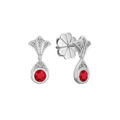Vintage Round Ruby and Diamond Earrings