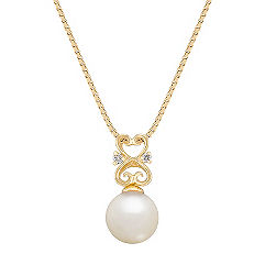 7mm Cultured Akoya Pearl and Diamond Pendant (18 in.)