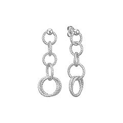 Textured Circle Dangle Earrings in Sterling Silver
