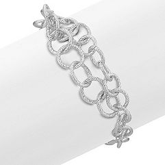 Textured Circle Sterling Silver Bracelet (7 in.)