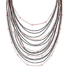 Black Rhodium and Rose Plated Sterling Silver Necklace (24 in.)