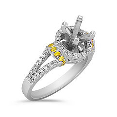 Halo Yellow Sapphire and Diamond Engagement Ring with Pavé Setting