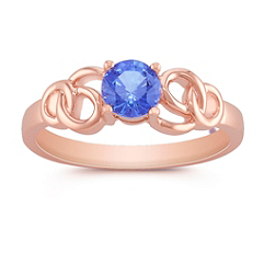 Round Kentucky Blue Sapphire Ring in Rose Gold