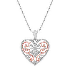 Princess Cut Diamond Heart Pendant in 14k Rose Gold and Sterling Silver (18 in.)