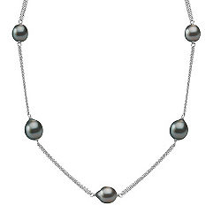 9mm Cultured Tahitian Pearl and Sterling Silver Necklace (25)
