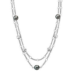 9mm Cultured Tahitian Pearl Necklace and Sterling Silver (25 in.)