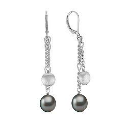 9mm Cultured Tahitian Pearl and Sterling Silver Lever Back Earrings