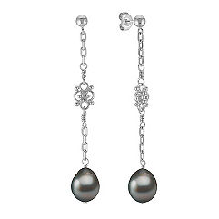 9mm Cultured Tahitian Pearl and Sterling Silver Dangle Earrings