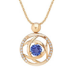 Kentucky Blue Sapphire and Diamond Circle Pendant (18)