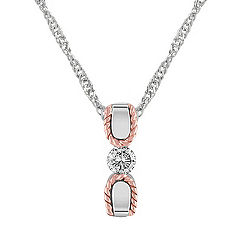 Diamond Sterling Silver and 14k Rose Gold Pendant (18 in.)