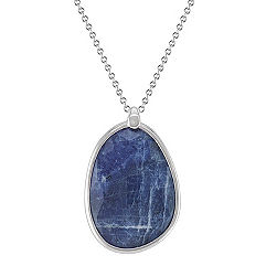 Sodalite and Sterling Silver Pendant (18 in.)
