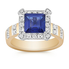 Square Step Cut Sapphire and Round Diamond Ring