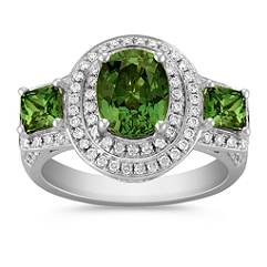 Oval and Princess Cut Green Sapphire and Round Diamond Ring