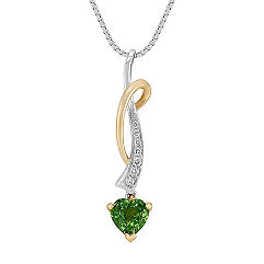 Heart Shaped Green Sapphire and Round Diamond Pendant in Two-Tone Gold (18)