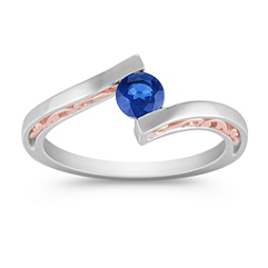 Sapphire Ring in Sterling Silver & 14k Rose Gold with Channel Setting