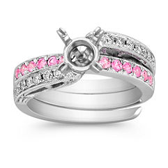 Pink Sapphire and Diamond Swirl Wedding Set