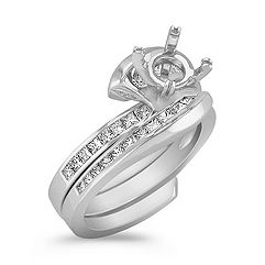 Halo Swirl Princess Cut Diamond Wedding Set
