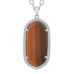 Tiger's Eye and Sterling Silver Pendant (20 in.)