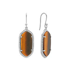 Tiger's Eye and Sterling Silver Dangle Earrings