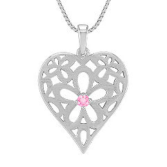 Pink Sapphire and Sterling Silver Heart Pendant (18 in.)