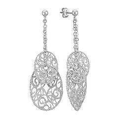 Oval Vintage Sterling Silver Dangle Earrings