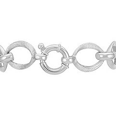 Brushed and Polished Sterling Silver Link Bracelet (7.5)