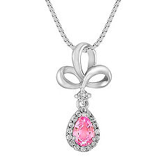 Pear Shaped Pink Sapphire and Round Diamond Pendant (18)