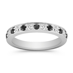 Round Black Sapphire and Diamond Wedding Band with Channel Setting
