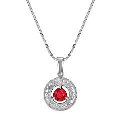 Circle Round Ruby Pendant (18 in.)
