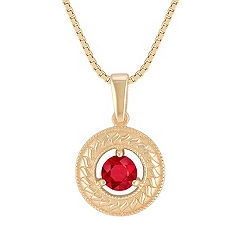 Round Ruby Circle Pendant (18 in.)